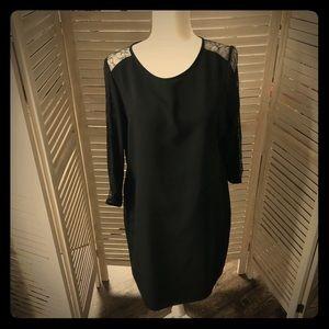 Calvin Klein Lace Arm Long Sleeved Sheath Dress